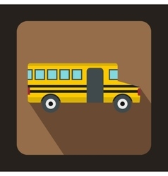 School yellow bus icon flat style vector image