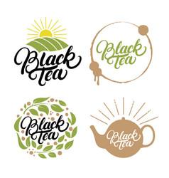 set of black tea hand written lettering logos vector image