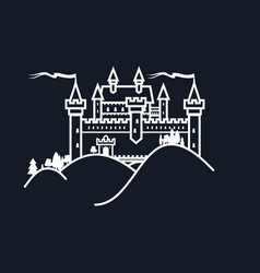 White castle hill on black background vector