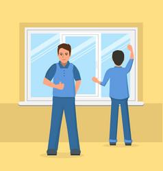 workers installing plastic window vector image