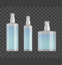 cosmetic spray bottles set isolated on checkered vector image vector image