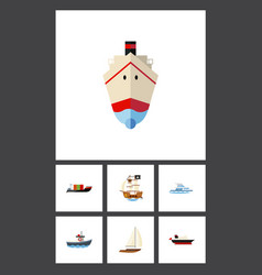 icon flat vessel set of yacht vessel delivery vector image vector image