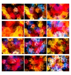 Polygonal backgrounds colorful set vector image vector image