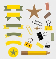 Ribbons Set pencil paperclip and sticker vector image vector image