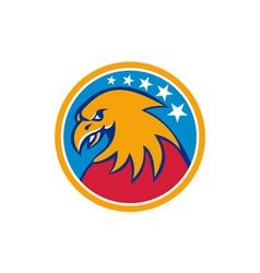 American Bald Eagle Head Stars Circle Retro vector image vector image