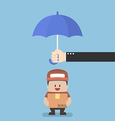 Businessman with parcel box protected by umbrella vector image