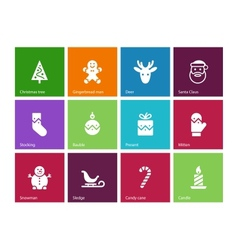 Christmas icons on color background vector image