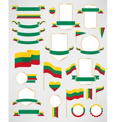 Lithuania flag decoration elements vector