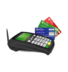 Payment terminal with color bank cards vector image vector image