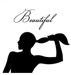 woman and hairstyle silhouette vector image