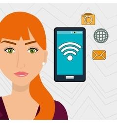 woman smartphone app global vector image