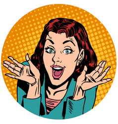 surprise woman pop art avatar character icon vector image