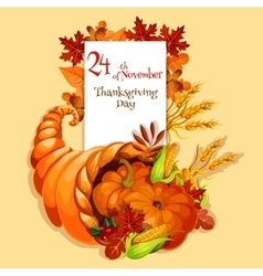 Thanksgiving greeting card Cornucopia harvest vector image vector image