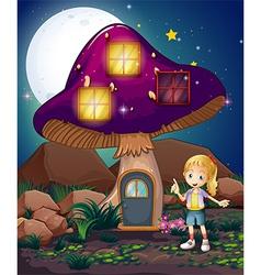 A cute girl standing beside the magical mushroom vector