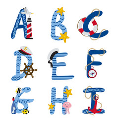 Alphabet nautical from a to i vector