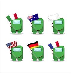 Among us green cartoon character bring flags vector