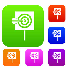 arrow in the center of target set collection vector image