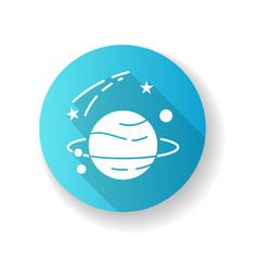 astronomy blue flat design long shadow glyph icon vector image