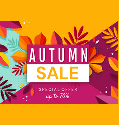 autumn sale banner background with fallen leaves vector image