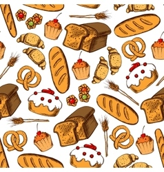 Bakery and pastry seamless background vector