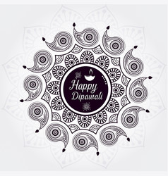 beautiful greeting card for festival happy diwali vector image
