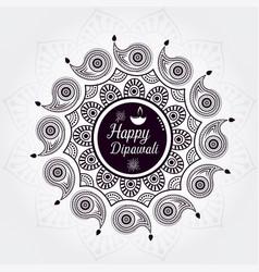 Beautiful greeting card for festival happy diwali vector