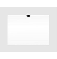 blank empty sheet of paper attached with clip vector image