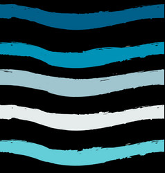 blue seamless wave pattern linear design on black vector image