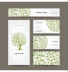 Business cards design green ecology concept vector image vector image