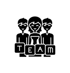 business team black icon sign on isolated vector image