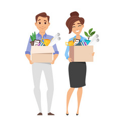 Business woman and businessman holding box vector