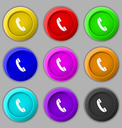 Call icon sign symbol on nine round colourful vector image
