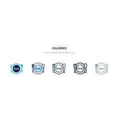 Calories icon in different style two colored and vector