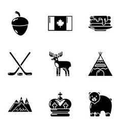 Canadian plaything icons set simple style vector