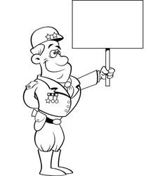 Cartoon military general holding a sign vector