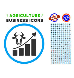 Cattle chart grow up rounded icon with set vector