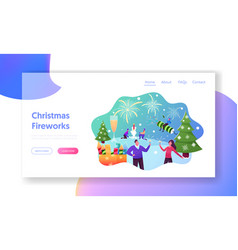Characters enjoying firework landing page template vector