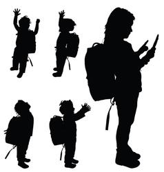 Children happy set silhouette vector