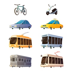 City Transport Flat Cartoon Icons vector