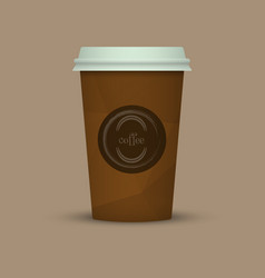 coffee cup in low poly style brown coffee plastic vector image