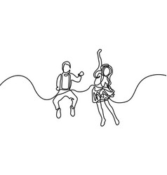 Continuous line girl and boy jumping for happy vector
