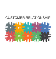 Customer relationship cartoon template with flat vector
