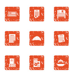 Documented icons set grunge style vector