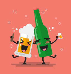 Drunk beer glass and bottle character vector