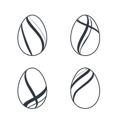 easter egg icons black eggs set isolated white vector image