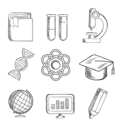 Education and science sketch icons vector