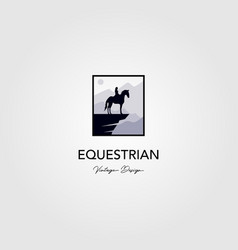 equestrian on hill logo with nature background vector image