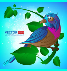 Exotic bird sitting on a branch with leaves vector
