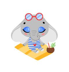 flat doodle cute cartoon summer elephant vector image