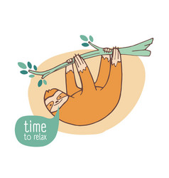 funny happy sloth hanging from branch cute lazy vector image